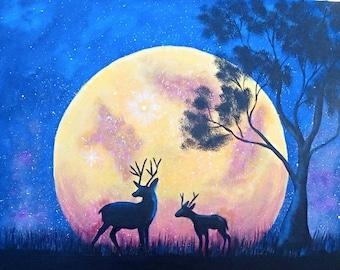 Deer Painting, Moon Painting
