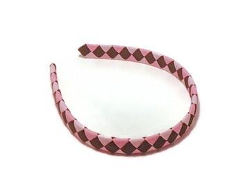 Girls Headbands // Pinks and Brown Headband // Woven Headband