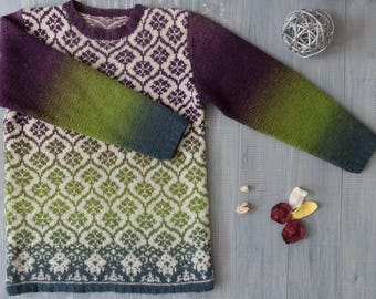 Jacquard hand-knit sweater Sorbet