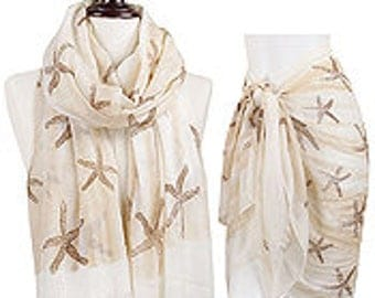 Starfish and Wave print scarf/wrap