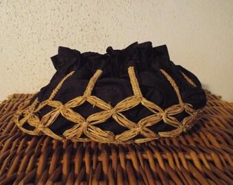 Victorian/Edwardian Silk and Straw Woven Bag/Purse