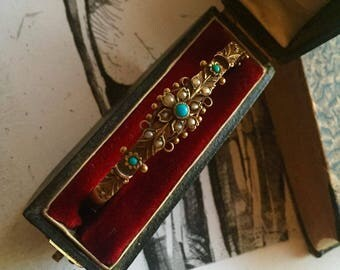 Victorian Gold Turquoise Pearl Bangle Bracelet