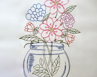 Fanciful Floral Mason Jar - Machine Embroidery Design