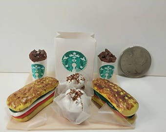 Miniature Starbucks Submarine Sandwich and Cupcakes Tray Display for Dollhouse