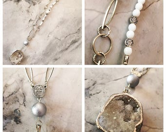 Moonstone, silver & crystal all in one necklace