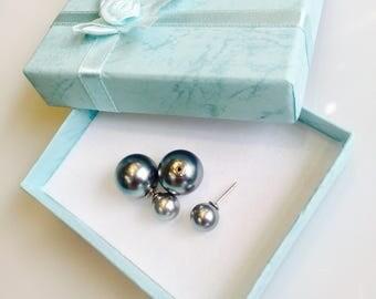 Double sided earrings ,shine ball earrings jacket ,front & back bouble ball earrings ,stud earrings 925 sterling silver