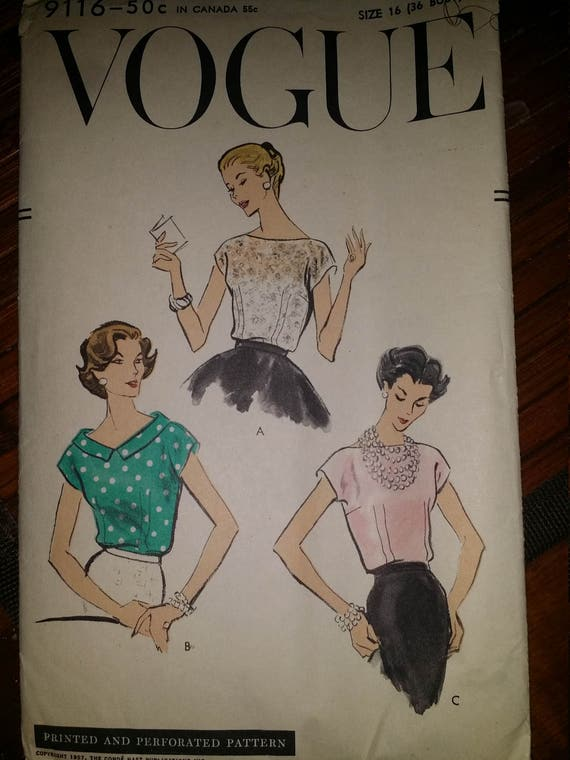 Vintage Vogue Blouse Pattern  9116-Sz 16 , Bust 36