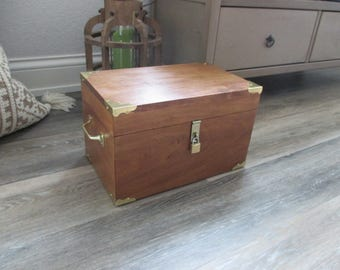 Handmade Wooden Trunk with Secret Compartment