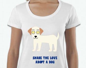 ADOPT A DOG T-SHIRTS - White Dog