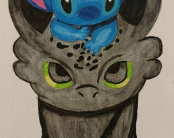 Stitch and toothless Canvas