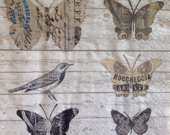 4x Paper Napkins for Decoupage Scrapbooking Craft Vintage Butterfly Newspaper Wall Sign 095
