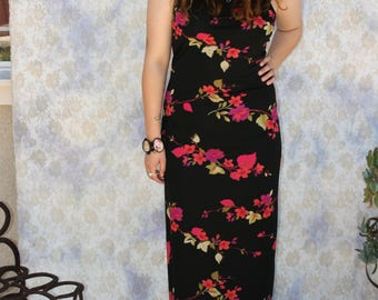 Made in Mexico sleeveless floral vibrant maxi dress