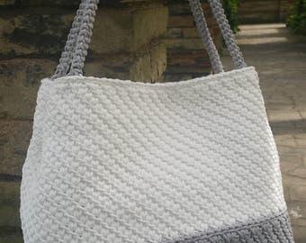 Handmade/Light Grey/White/Crochet/Knitted/ Rope/Original & Elegant Handbag