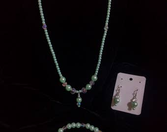 Beaded Teal with Crystal Accents: Necklace, Bracelet, and Earring Set