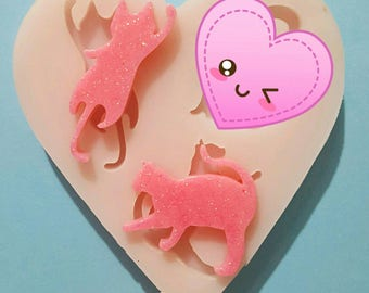 Flexible silicone mold two polished cats silhouettes (random color)