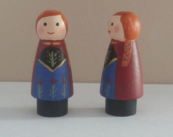 Princess wooden peg dolls