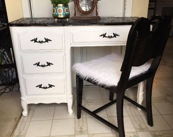Fabulous French Provincial 4 drawer vanity with mirror and chair