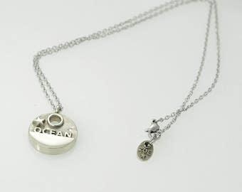 ocean pendant, statement jewelry