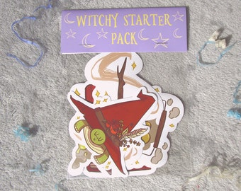 Clumsy Witch Sticker Pack - magic - spells - cauldron