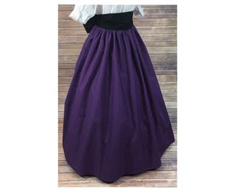 Skirt Only - Renaissance - Civil War - Victorian - Southern Belle - LARP - Cosplay - Dickensonian - Pioneer - purple - dress costume