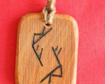 "Juniper Rune-bind talisman pendant ""Money vortex"" pyrography hand made Asatru Wicca Pagan Elder FUTHARK"