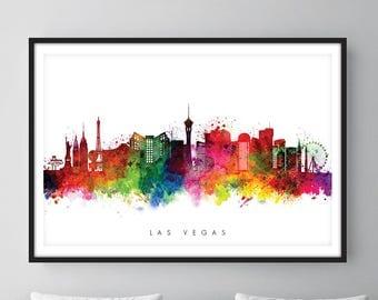 Las Vegas Skyline, Las Vegas Nevada Cityscape Art Print, Wall Art, Watercolor, Watercolour Art Decor [SWLAS01]