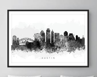 Austin Skyline, Austin Texas Cityscape Art Print, Wall Art, Watercolor, Watercolour Art Decor