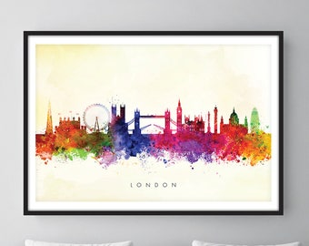 London Skyline, London Cityscape England, Art Print, Wall Art, Watercolor, Watercolour Art Decor [SWLDN04]