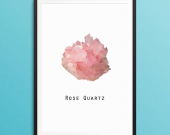 Rose Quartz Crystal Poster - Geometric Wall Art - Printable - A3 - A4