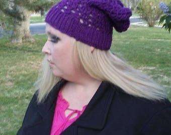 Purple slouchy women's beanie hat