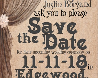 Vintage Feel Printable Save The Date Custom