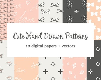 Cute Hand-Drawn Patterns Vector