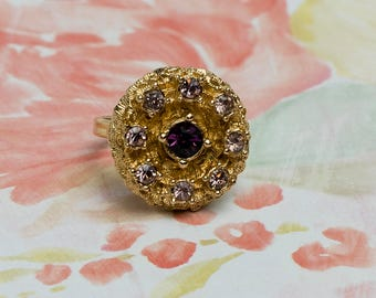 Sarah Coventry Medallion Adjustable Ring | Faux Amethyst | Gold Tone | Vintage