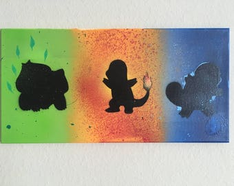 Pokemon stencil canvas , starter pokemon, charmander,bulbasaur ,squirtle ,ash ketchum , pikachu