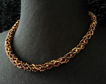 Glass - amber coppery beads necklace