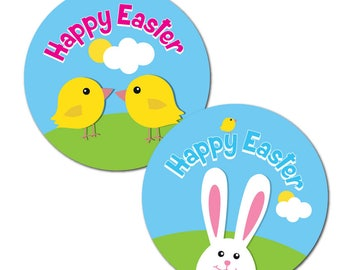 Happy Easter Stickers - 30mm - 'Bunny and Chick'