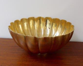 Vintage Lotus Motif Art Deco Brass Bowl