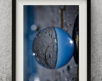 Glass ball photography image, digital art, wallpaper