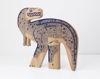 T - REX silkscreen on solid oak / Edwood / decorative object