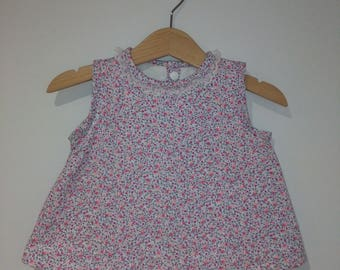 20% discount last bell-shaped UNIDAD-Vestido patterned flowers, lace, cotton lining inside white, handmade