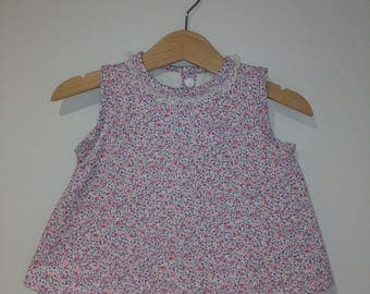 15% discount already flared APLICADO-Vestido of cotton with floral print, lace, lined interior of white cotton, handmade