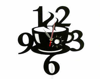 Fashion Art wall clock, Modern wall clock, Coffee cup wall clock