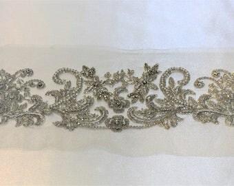 1 yard Rhinestone trim,applique trim, Bridal Applique, DIY Weddings, trim, rhinestone applique, crystal sash, bridal sash #56119 hand made