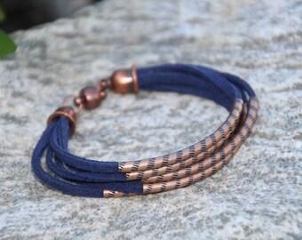 Blue Suede, Antique Copper, Bangle Bracelet