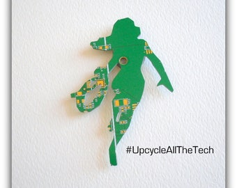 Wonder Woman Silhouette Cut Out of Recycled Circuit Board - Choose Option: Magnet, Pin or Hanging Ornament?