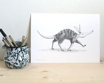 Print // aardvark walking to somewhere // A4 reproduction of a pendrawing
