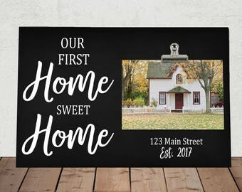 """Our First HOME SWEET HOME, Frame measures 8"""" x 12"""", Photo Clip Frame, Personalized Free, Our First House, There's no place like home"""