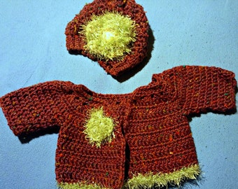 Crochet Baby Cardigan and Matching Beret