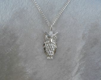 Owl Necklace, Owl Pendant, Silver Owl Necklace, Solid Sterling Silver Owl Pendant Necklace