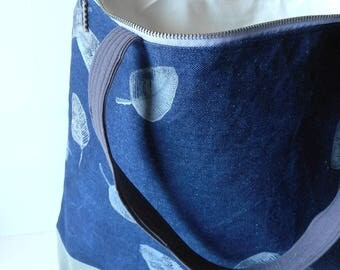 Denim big bag with prints, big tote zipper, zippered beach bag